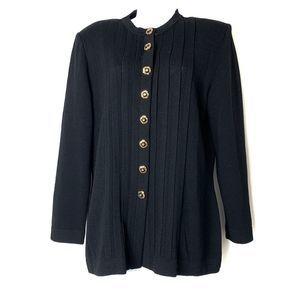St John Marie Gray Heavy Knit Cardigan Blazer Navy